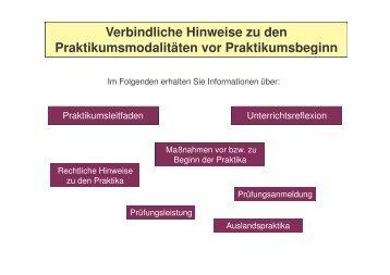 Verbindliche Hinweise zu den Praktikumsmodalitäten vor ...