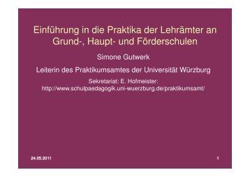pädagogisch-didaktisches Praktikum Teil 1 - Universität Würzburg