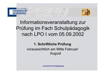 Informationsveranstaltung zur Prüfung im Fach Schulpädagogik ...