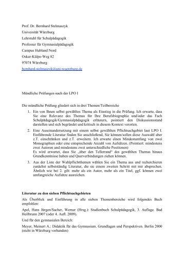 Prof. Dr. B. Stelmaszyk - Lehrstuhl für Schulpädagogik - Universität ...
