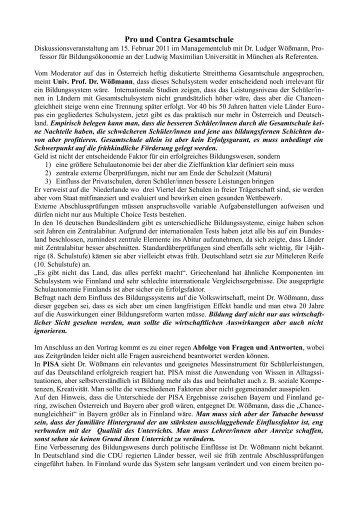 Pro Und Contra Gesamtschule   Schulpartner.info