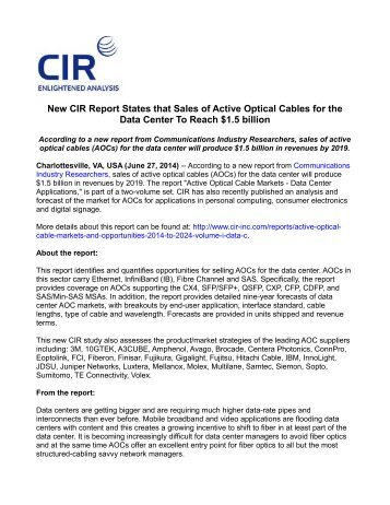 New CIR Report States that Sales of Active Optical Cables for the Data Center To Reach $1.5 billion