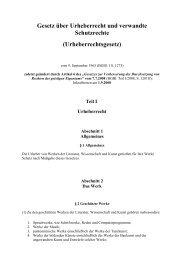 Komplettfassung des Urheberrechtsgesetz als pdf-Datei