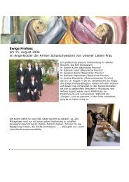 Ewige Profess am 15. August 2006 im Angerkloster der Armen ...