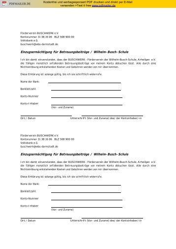 Einzugsermächtigung für Monatsbeiträge Betreuung - Schule