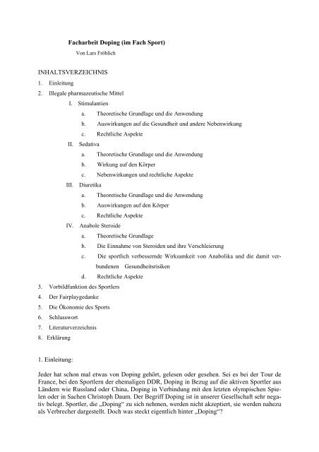 Facharbeit chemie doping spendenbescheinigung muster