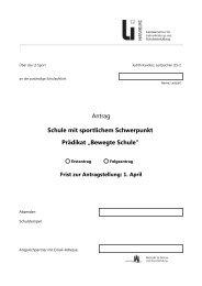 """Antrag Schule mit sportlichem Schwerpunkt Prädikat """"Bewegte ..."""