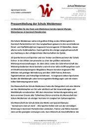 Pressemitteilung der Schule Weidemoor - Schulsport-Hamburg.de