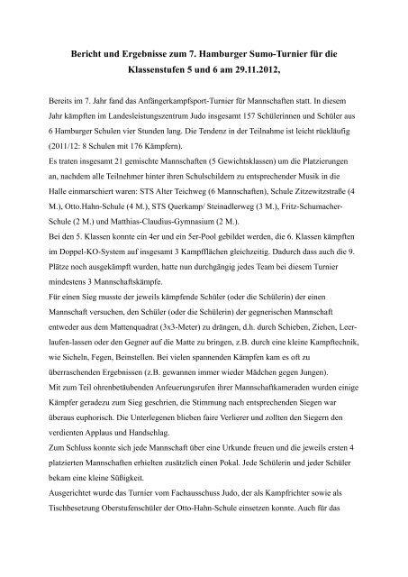 Bericht mit Ergebnissen - Schulsport-Hamburg.de