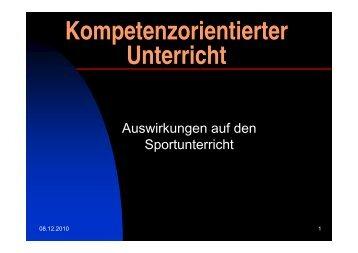 Kompetenzorientiertes Unterrichten - Schulsport-NRW