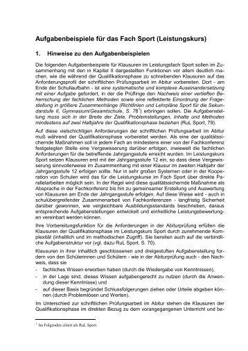 Aufgabenbeispiele Sport - Schulsport-NRW