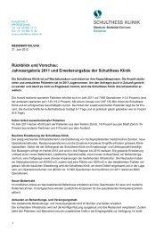 Medienmitteilung (PDF) - Schulthess Klinik