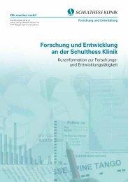Broschüre Forschung und Entwicklung - Schulthess Klinik