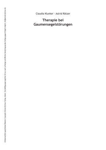 Therapie bei Gaumensegelstörungen - Schulz-Kirchner Verlag