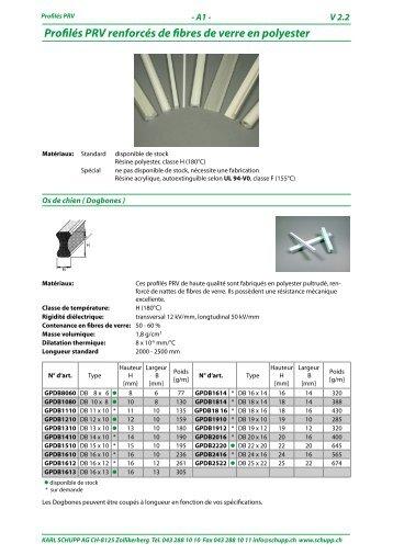 Profilés PRV renforcés de fibres de verre en polyester