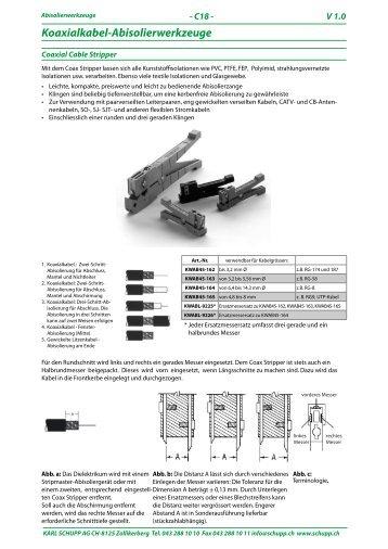 Koaxialkabel-Abisolierwerkzeuge
