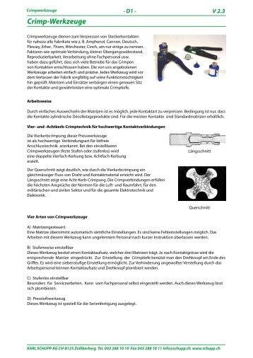 Crimp-Werkzeuge, Ein-/Ausstosswerkzeuge