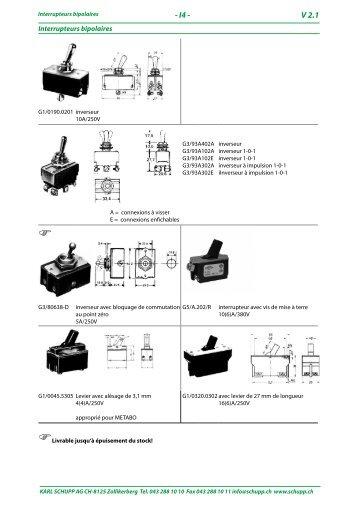 Interrupteurs bipolaires pour appareils électriques