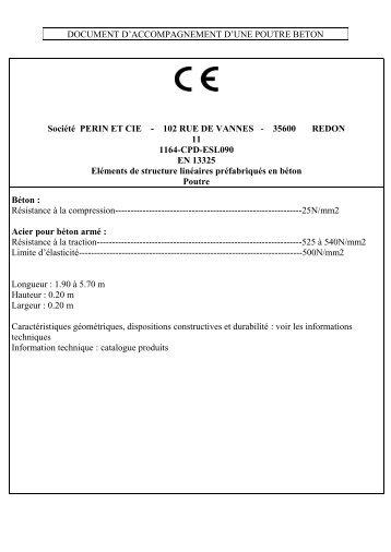 Document d'accompagnement d'une poutre béton