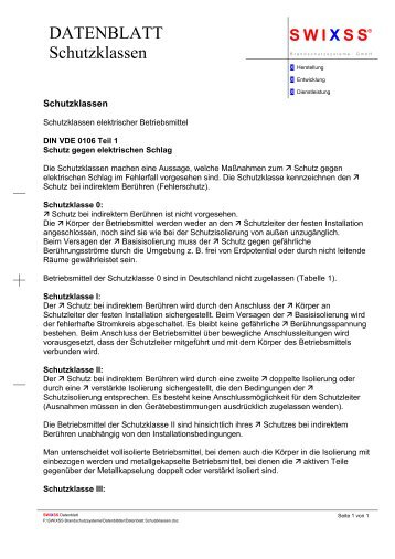 DATENBLATT Schutzklassen - Schutz24