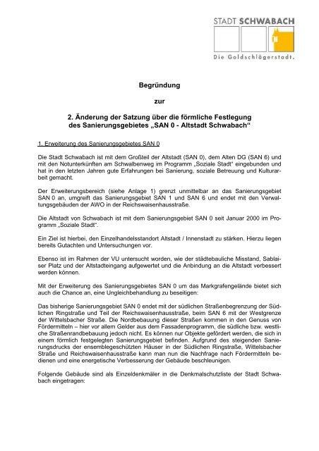 Begründung zur 2. Änderung der Satzung über ... - Stadt Schwabach