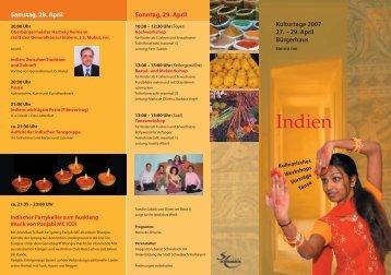 Programm der Indientage - Stadt Schwabach