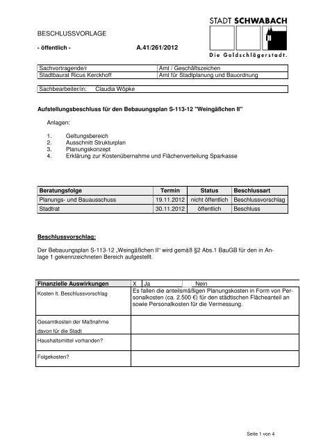 Beschlussvorlage als Begründung - Stadt Schwabach