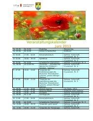 Veranstaltungskalender Juni 2013