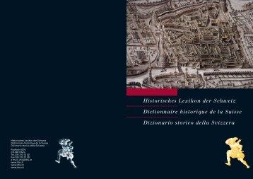 Historisches Lexikon der Schweiz Dictionnaire historique ... - Schwabe