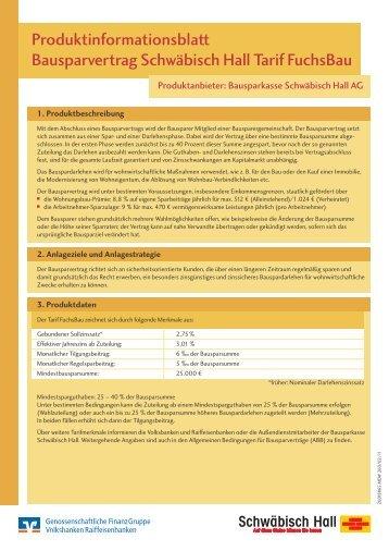Produktinformationsblatt Bausparvertrag Schwa Bisch Hall Tarif Fuchs
