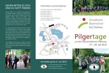 Pilgertage - Schwäbische Bauernschule Waldsee