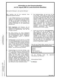 Information zu den Kommunalwahlen am 30. August 2009 im Lande ...