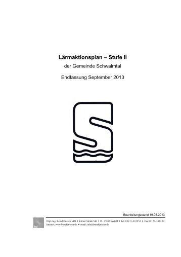 Lärmaktionsplan - Stufe II der Gemeinde Schwalmtal September 2013