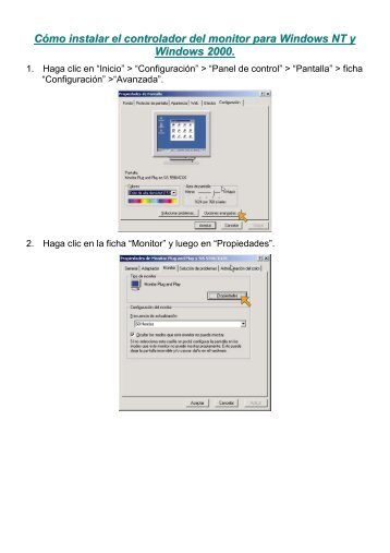 How to install monitor driver for Windows NT and Windows 2000