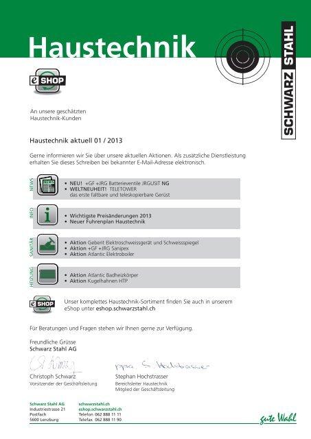 Haustechnik - Schwarz Stahl AG