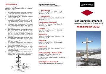 Wanderplan 2013 - Schwarzwaldverein OG Schönau im Schwarzwald