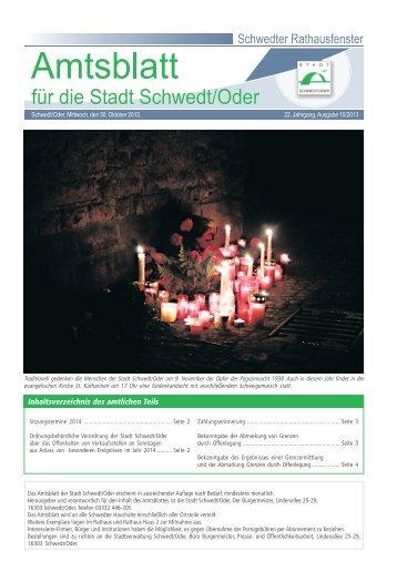 Inhaltsverzeichnis des amtlichen Teils - Stadt Schwedt/Oder