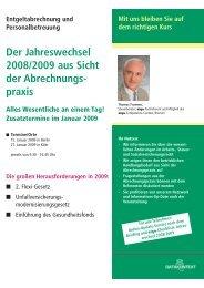 Der Jahreswechsel 2008/2009 aus Sicht der Abrechnungs- praxis