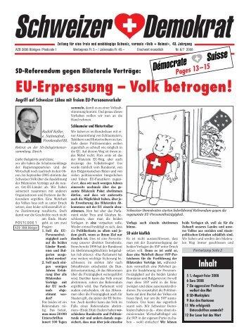EU-Erpressung – Volk betrogen! - Schweizer Demokraten SD