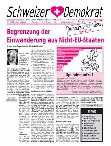 Begrenzung der Einwanderung aus Nicht-EU-Staaten - Schweizer ...