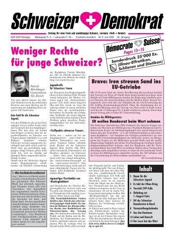 Weniger Rechte für junge Schweizer? - Schweizer Demokraten SD