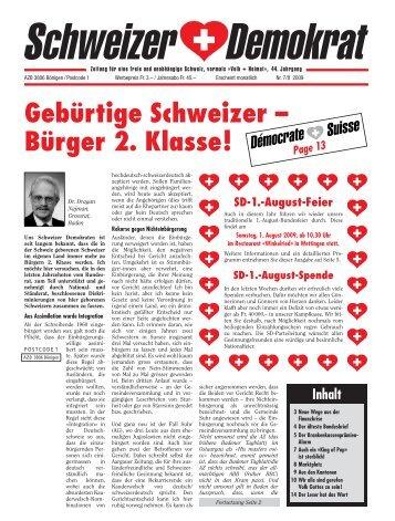 Gebürtige Schweizer – Bürger 2. Klasse! - Schweizer Demokraten SD