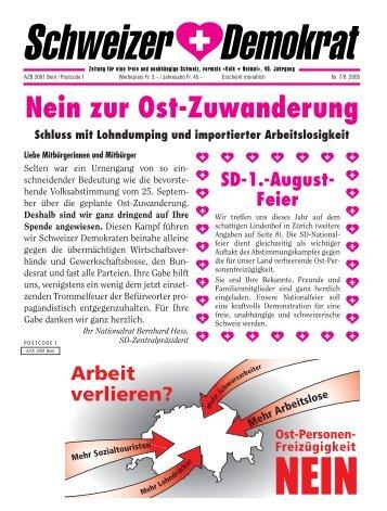 Nein zur Ost-Zuwanderung - Schweizer Demokraten SD