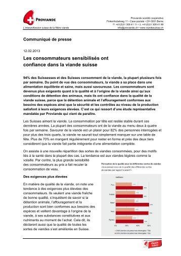 Les consommateurs sensibilisés ont confiance ... - Schweizer Fleisch