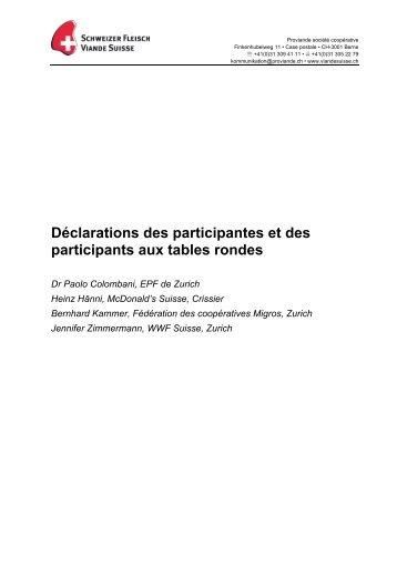 Déclarations des participantes et des ... - Schweizer Fleisch