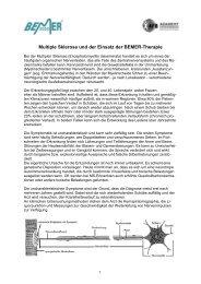 Multiple Sklerose und der Einsatz der BEMER-Therapie - Schwendihof