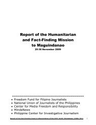 Report of the Humanitarian and Fact-Finding Mission to Maguindanao