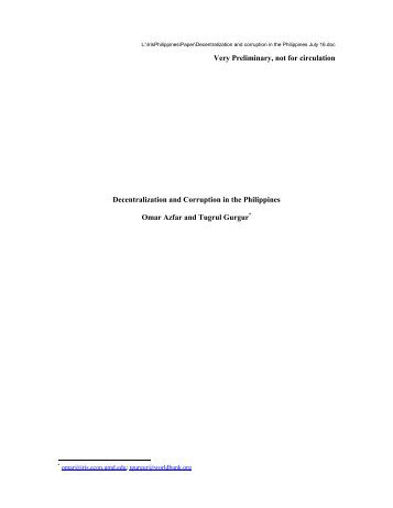 Decentralization and Corruption in the Philippines