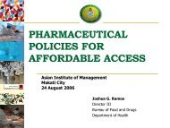 bfad presentation on pharmaceutical policies for drug access