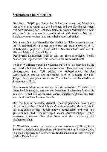 Schichtwesen im Mittelalter - Stadt Schwerte